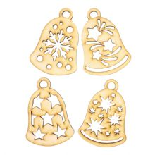 Wooden Laser Cut Shapes Various Sizes Decorative Bauble Topper Christmas Bells